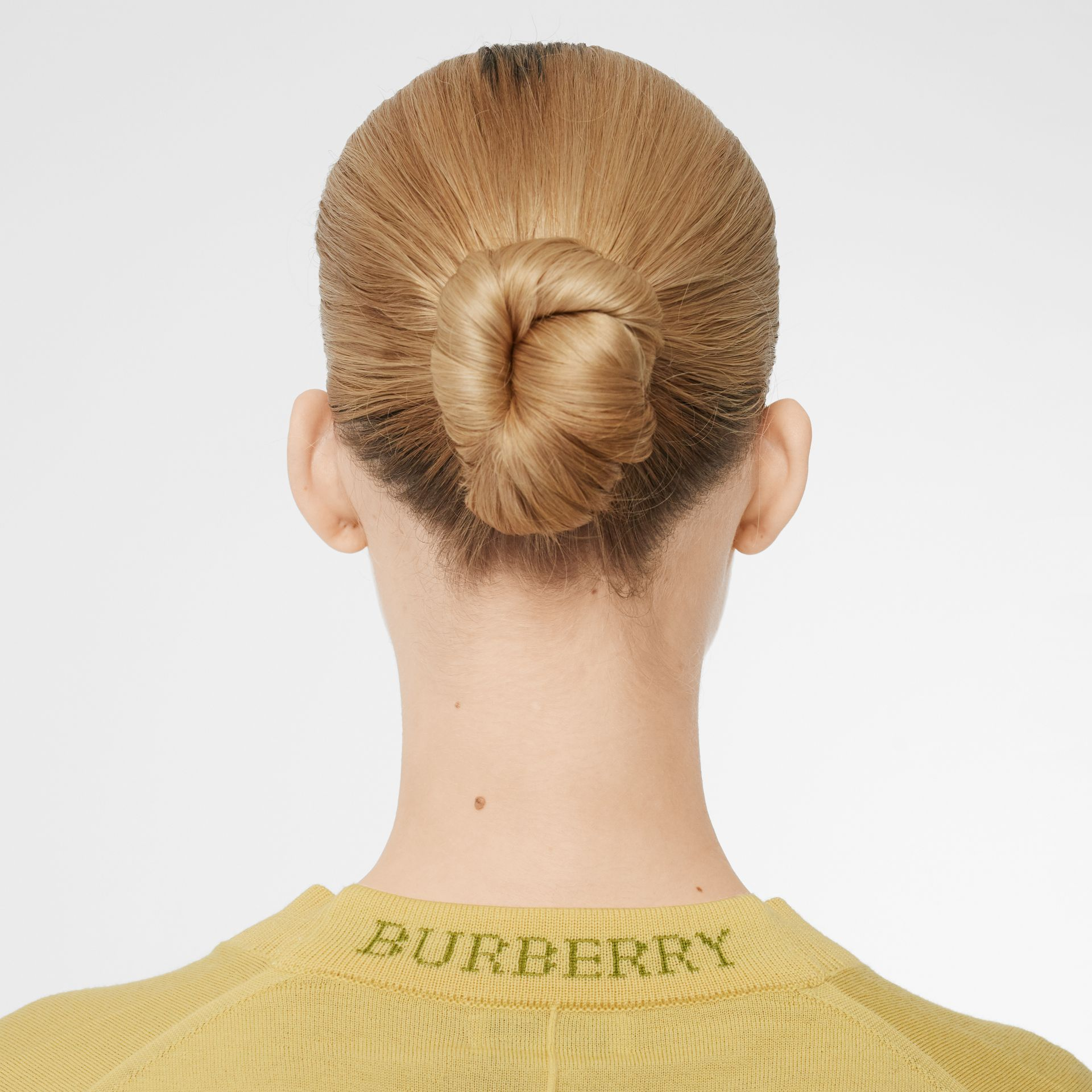 Logo Detail Merino Wool Cardigan in Primrose Yellow - Women | Burberry - gallery image 1
