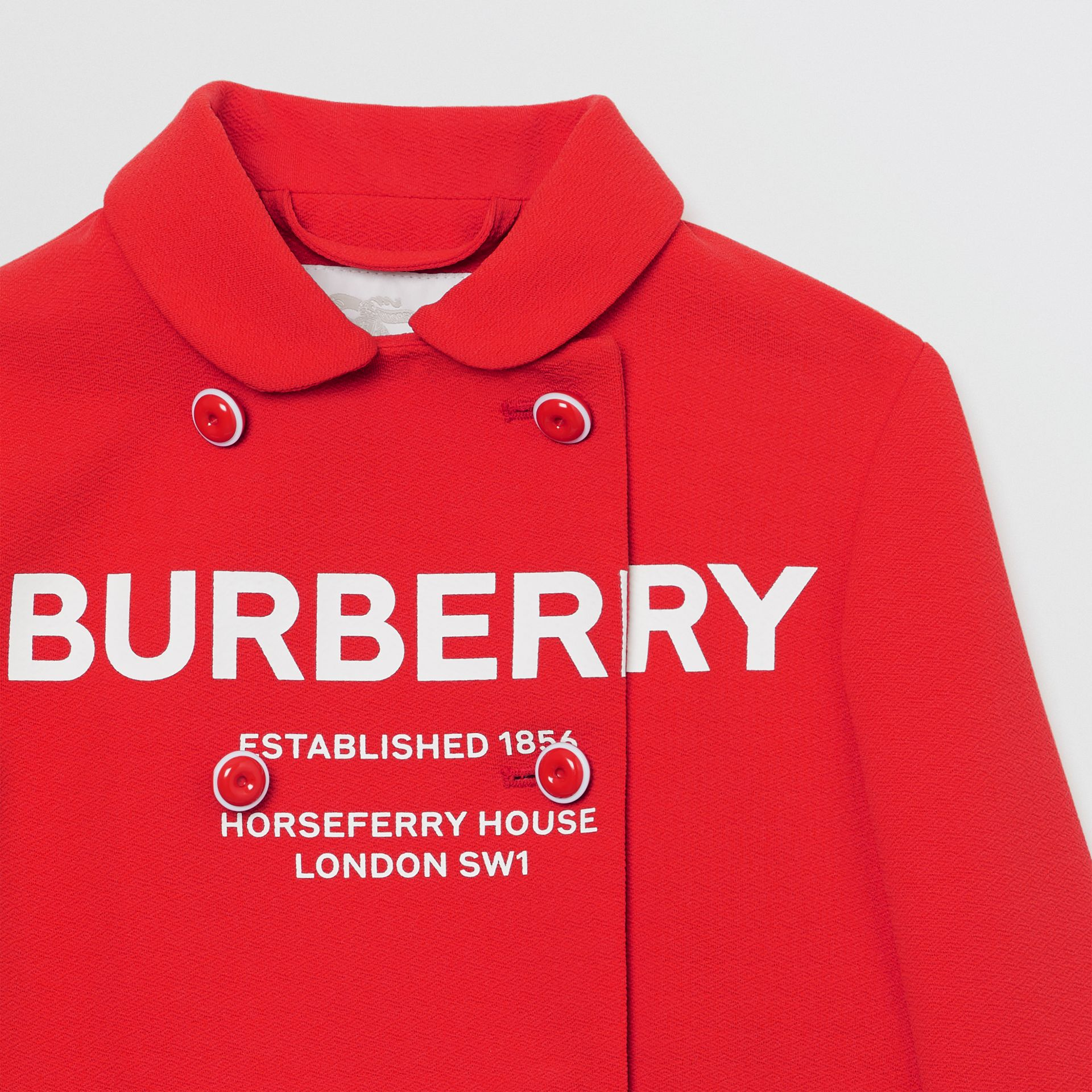 Logo Print Crepe Jersey Double-breasted Jacket in Bright Red | Burberry - gallery image 3