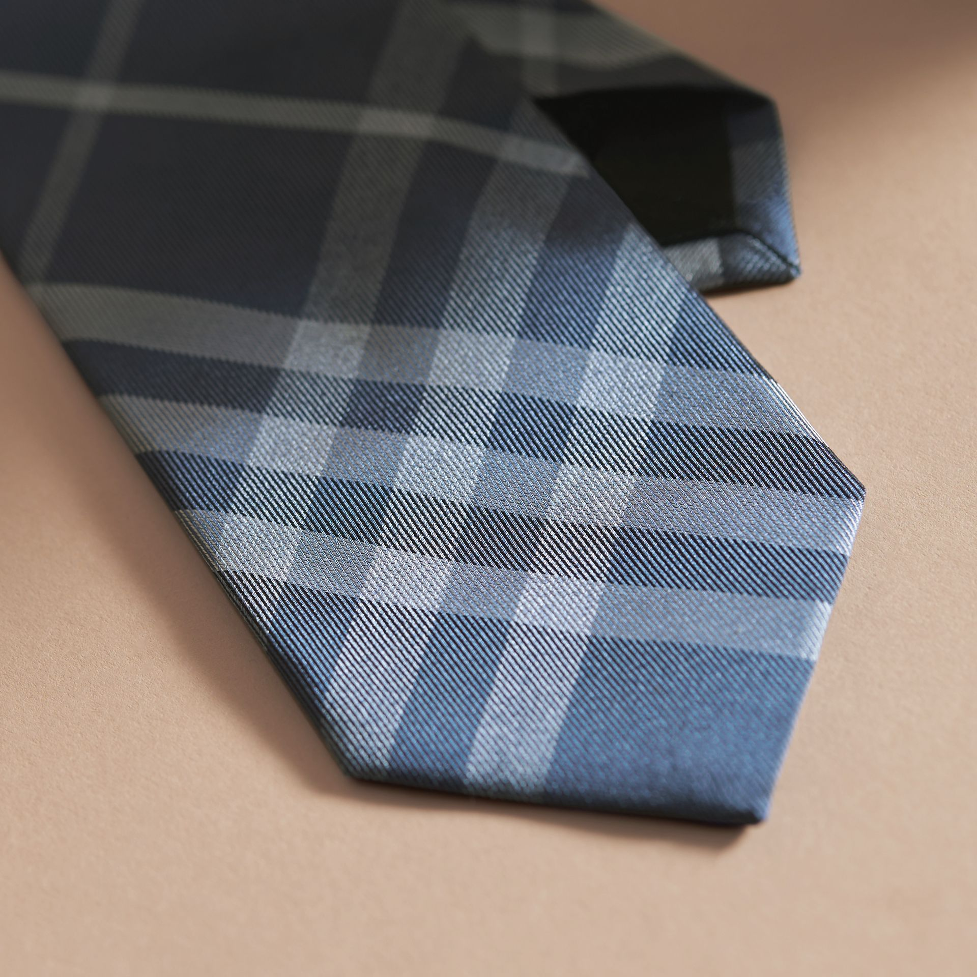 Modern Cut Check Jacquard Silk Tie Hydrangea Blue - gallery image 2