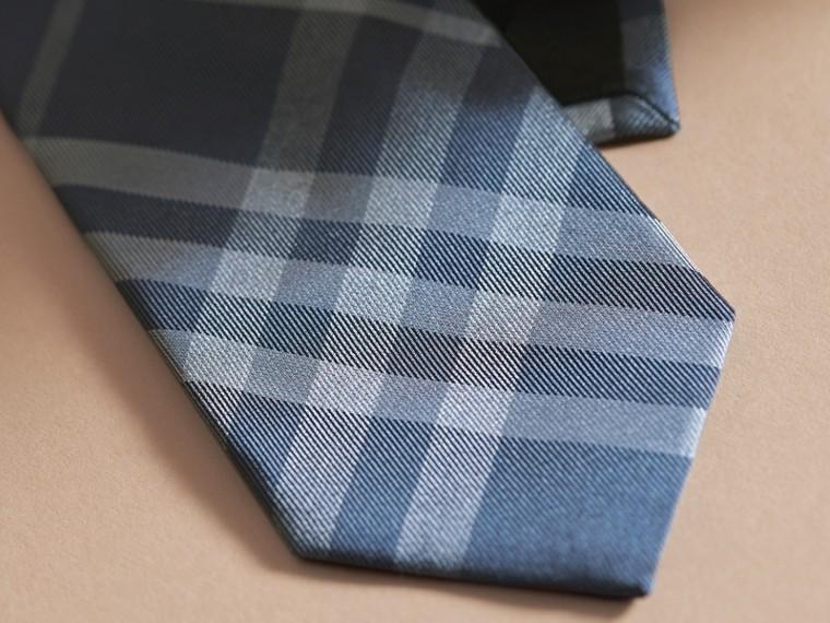 Modern Cut Check Jacquard Silk Tie Hydrangea Blue - cell image 1