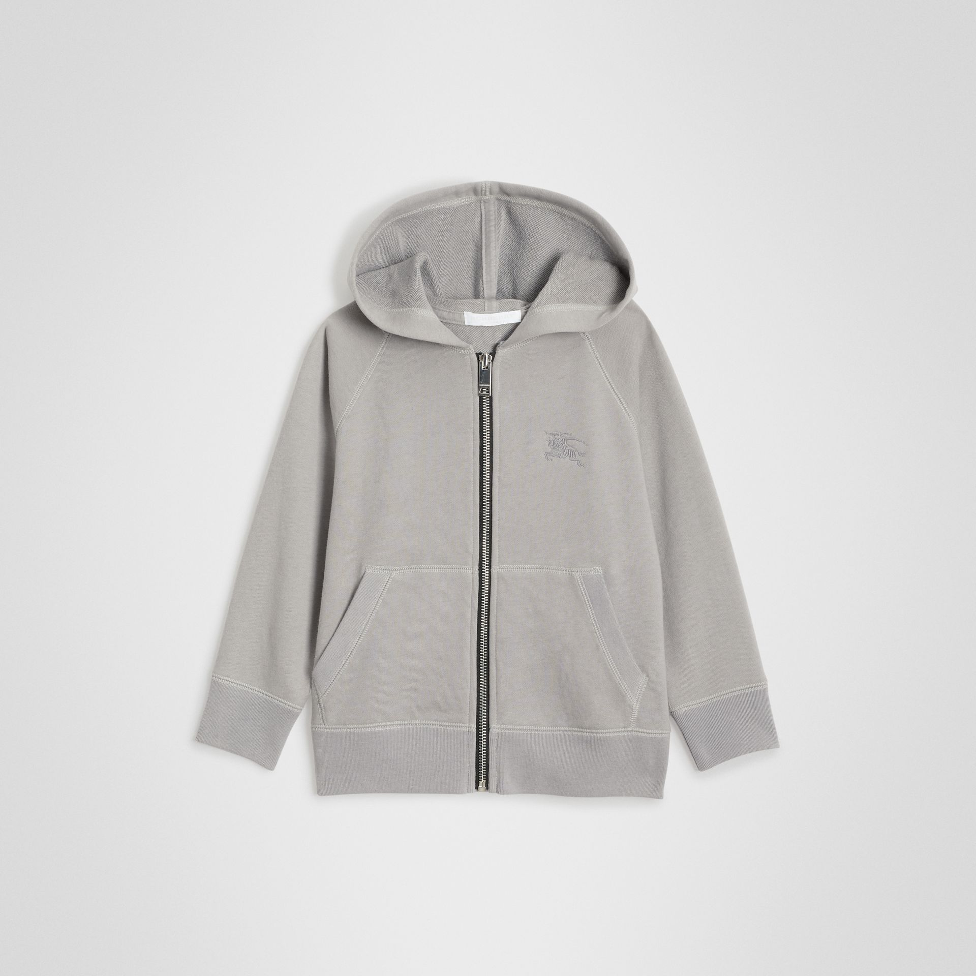 Cotton Jersey Hooded Top in Chalk Grey Melange | Burberry United Kingdom - gallery image 0