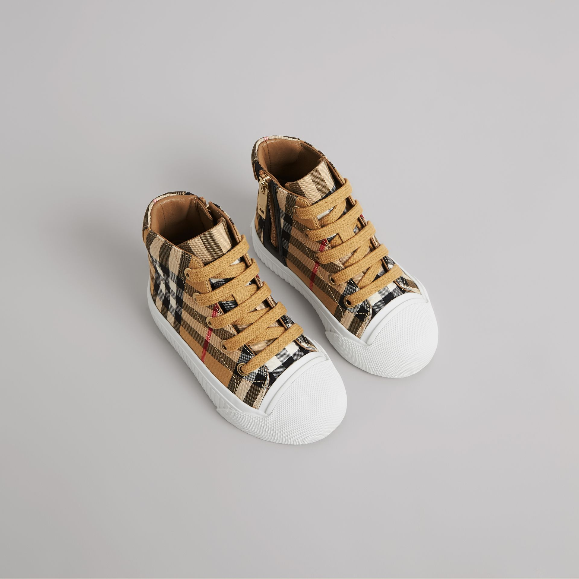 Vintage Check and Leather High-top Sneakers in Antique Yellow/optic White - Children | Burberry Canada - gallery image 0