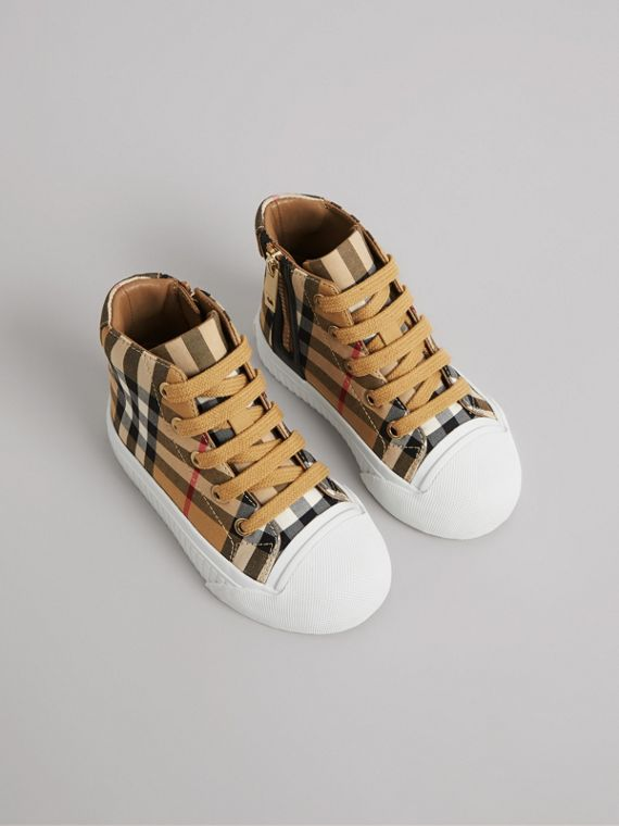 Vintage Check and Leather High-top Sneakers in Antique Yellow/optic White