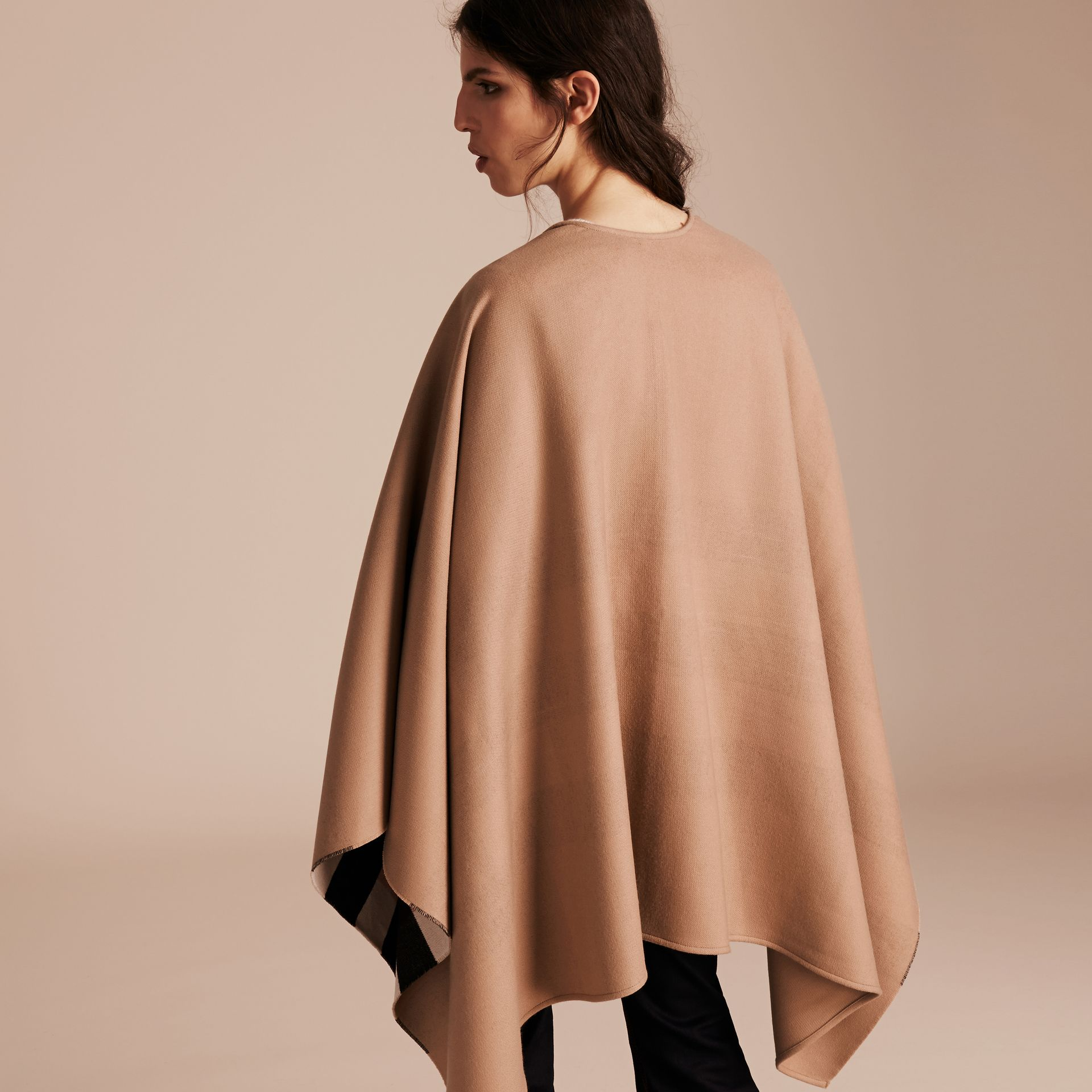 Reversible Check Merino Wool Poncho in Camel - Women | Burberry - gallery image 6