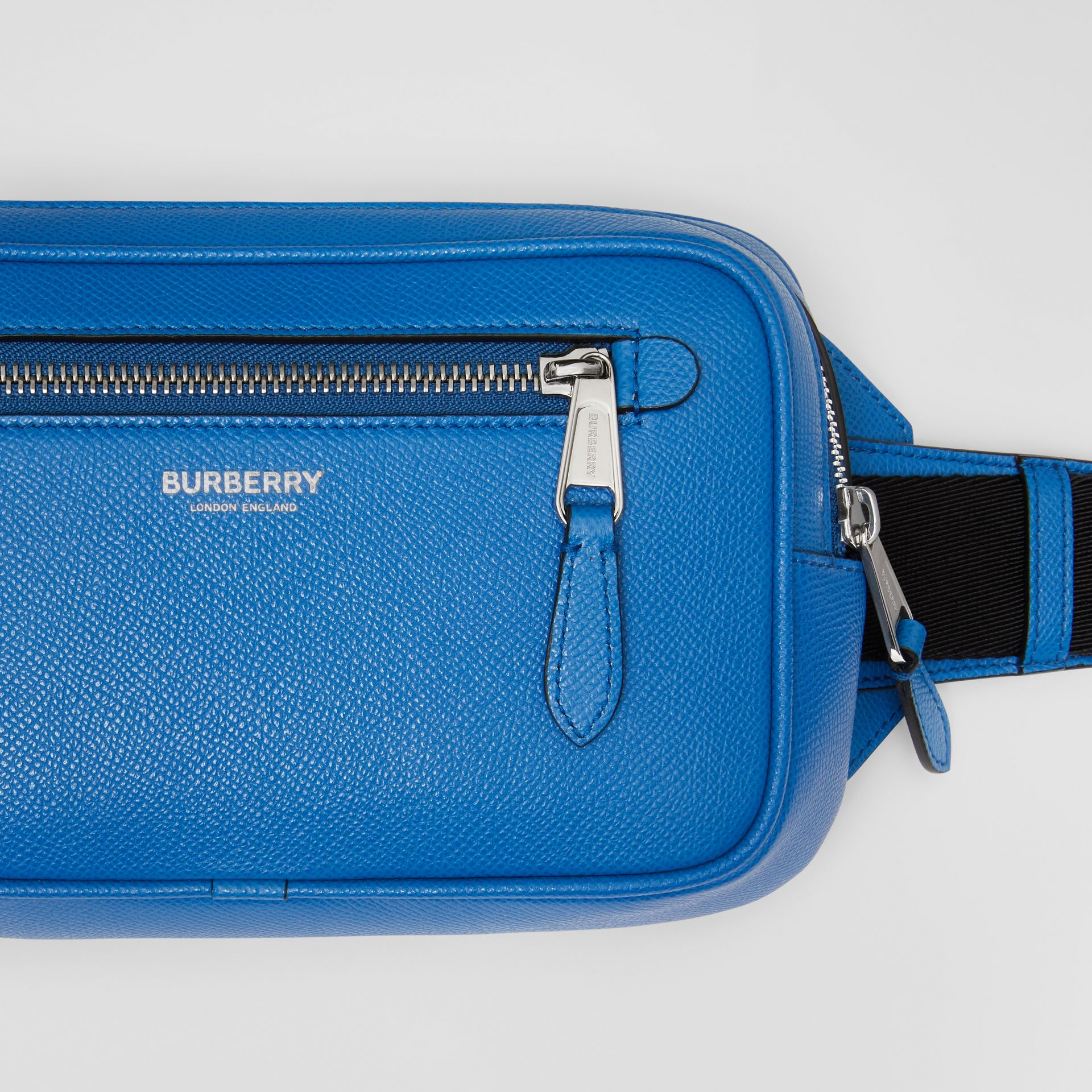Grainy Leather Bum Bag in True Blue - Men | Burberry United States - gallery image 1
