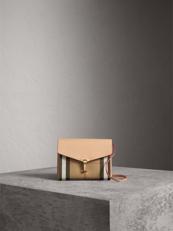 Small Leather and House Check Crossbody Bag in Pale Apricot - Women   Burberry