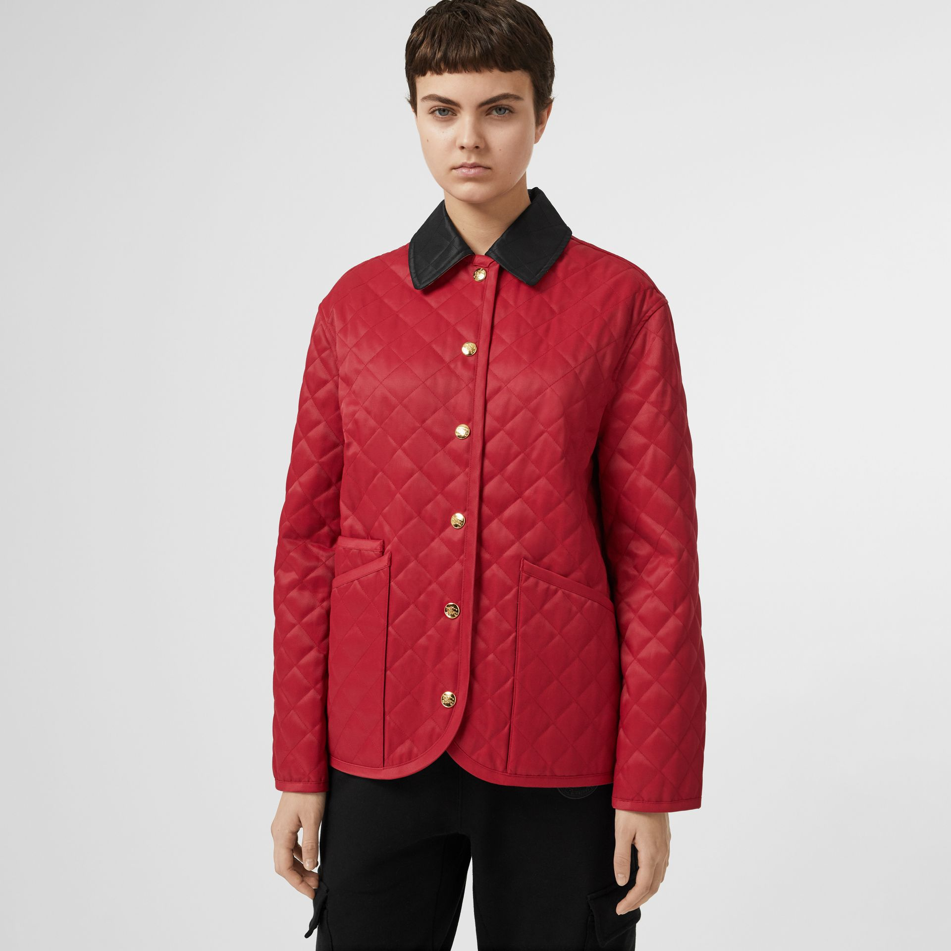 Diamond Quilted Barn Jacket in Red - Women | Burberry - gallery image 6