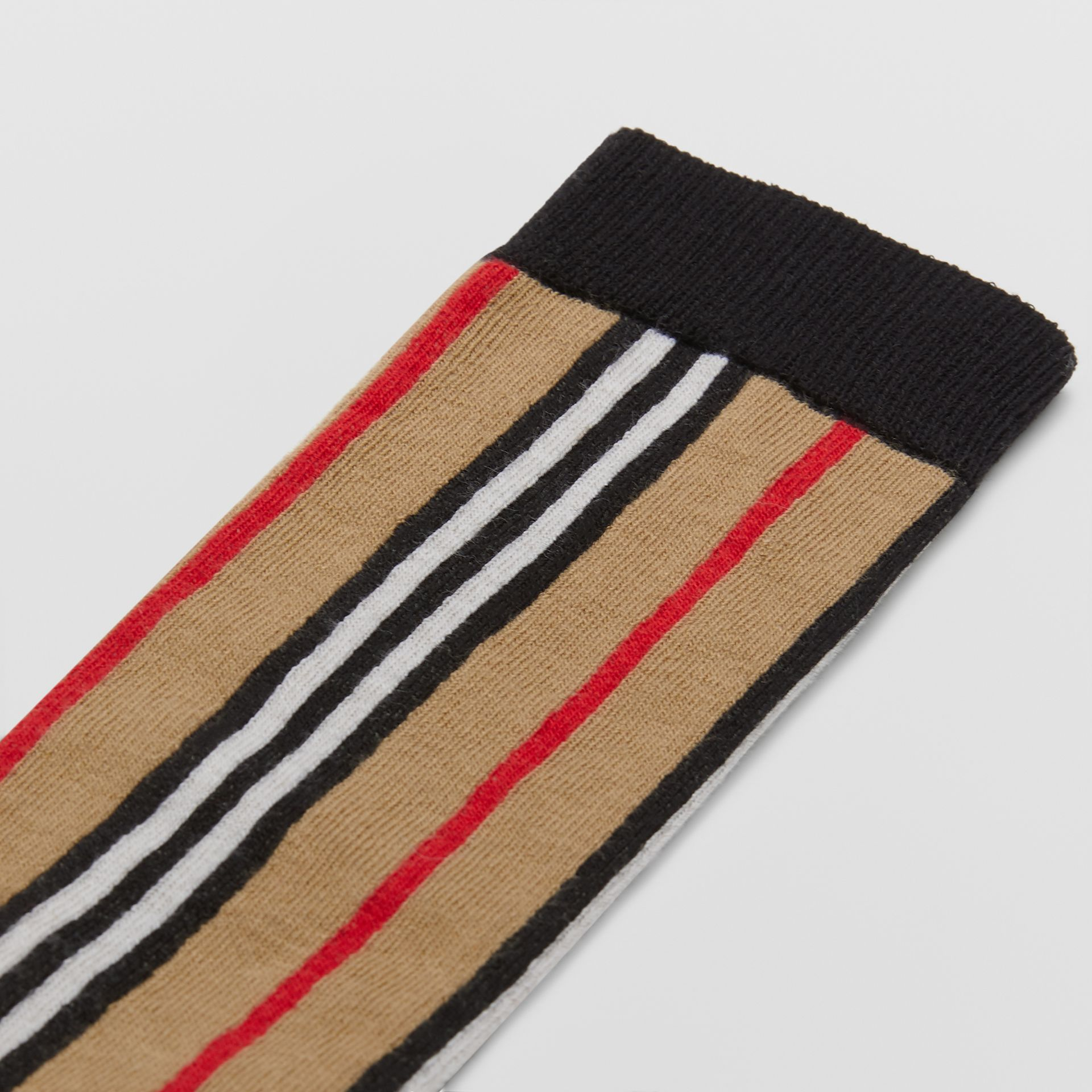 Icon Stripe Intarsia Cotton Blend Socks in Archive Beige - Children | Burberry - gallery image 1