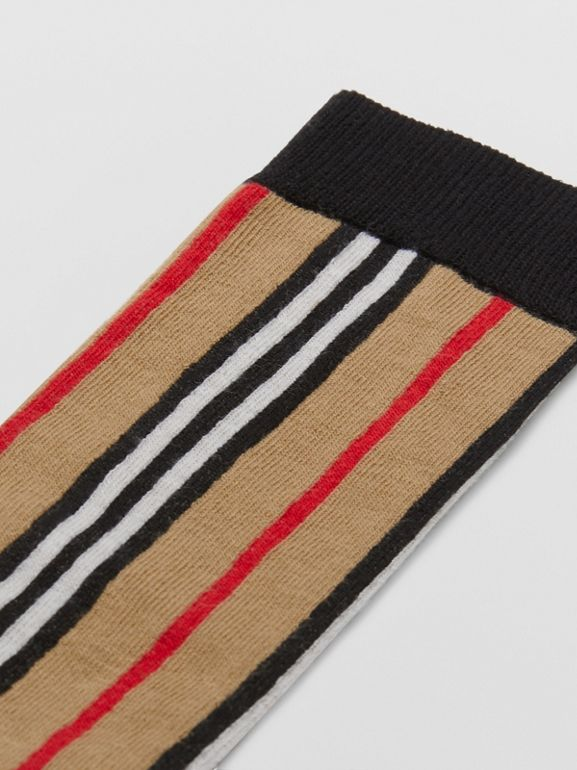Icon Stripe Intarsia Cotton Blend Socks in Archive Beige - Children | Burberry - cell image 1