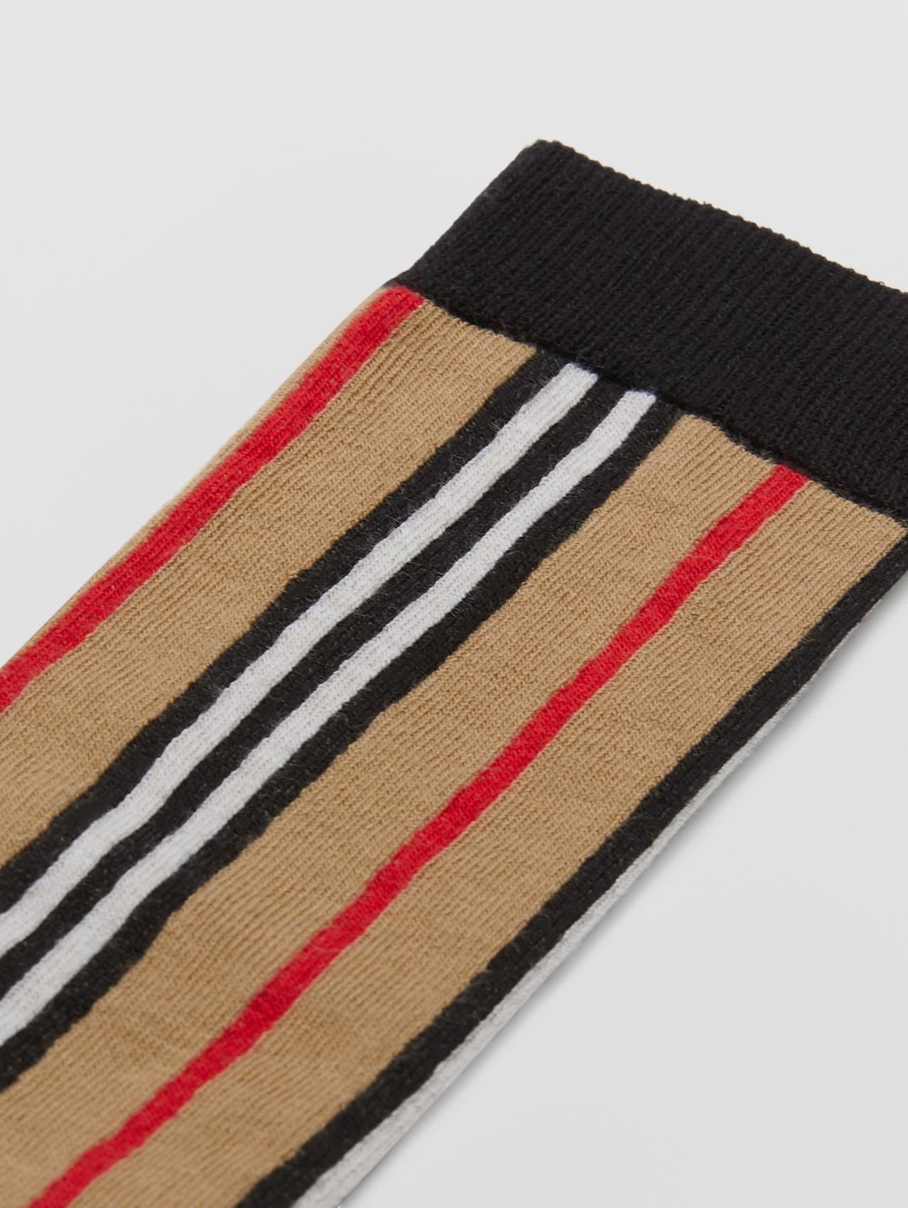 Icon Stripe Intarsia Cotton Blend Socks in Archive Beige