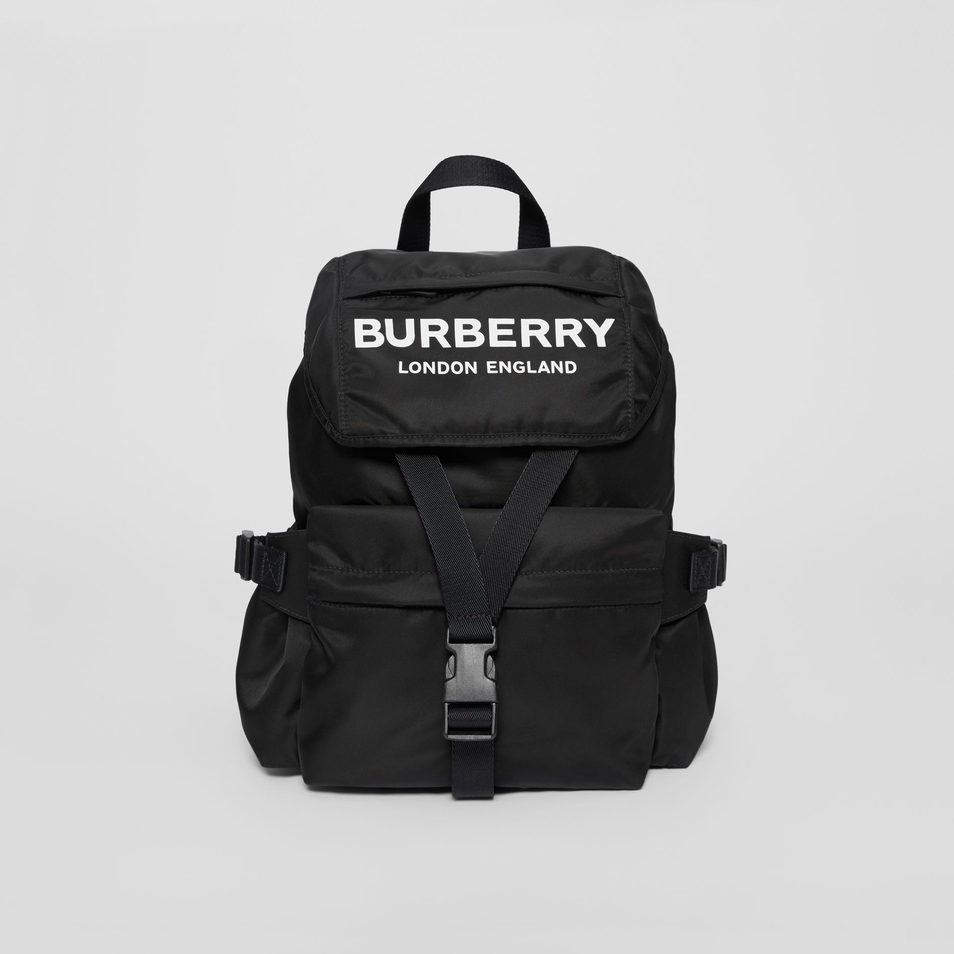 Logo Print Nylon Backpack in Black - Women | Burberry United States - gallery image 0