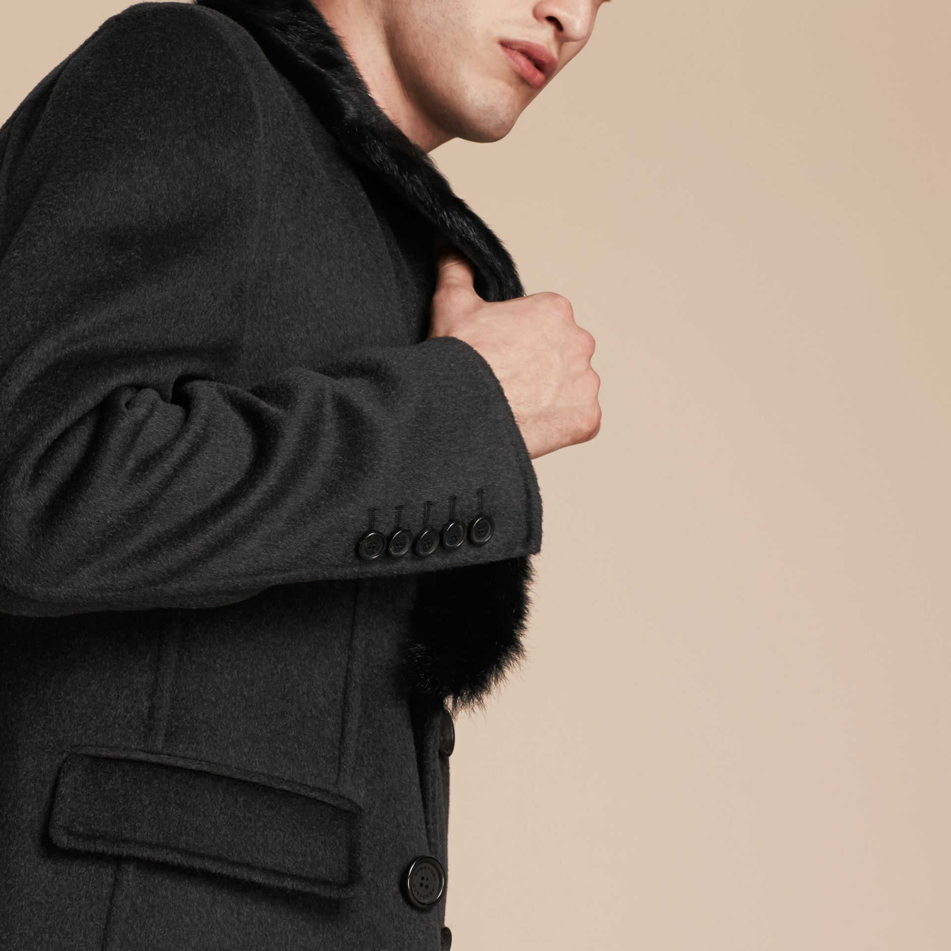 Dark charcoal melange Double Wool Top Coat with Detachable Fur Collar - gallery image 6