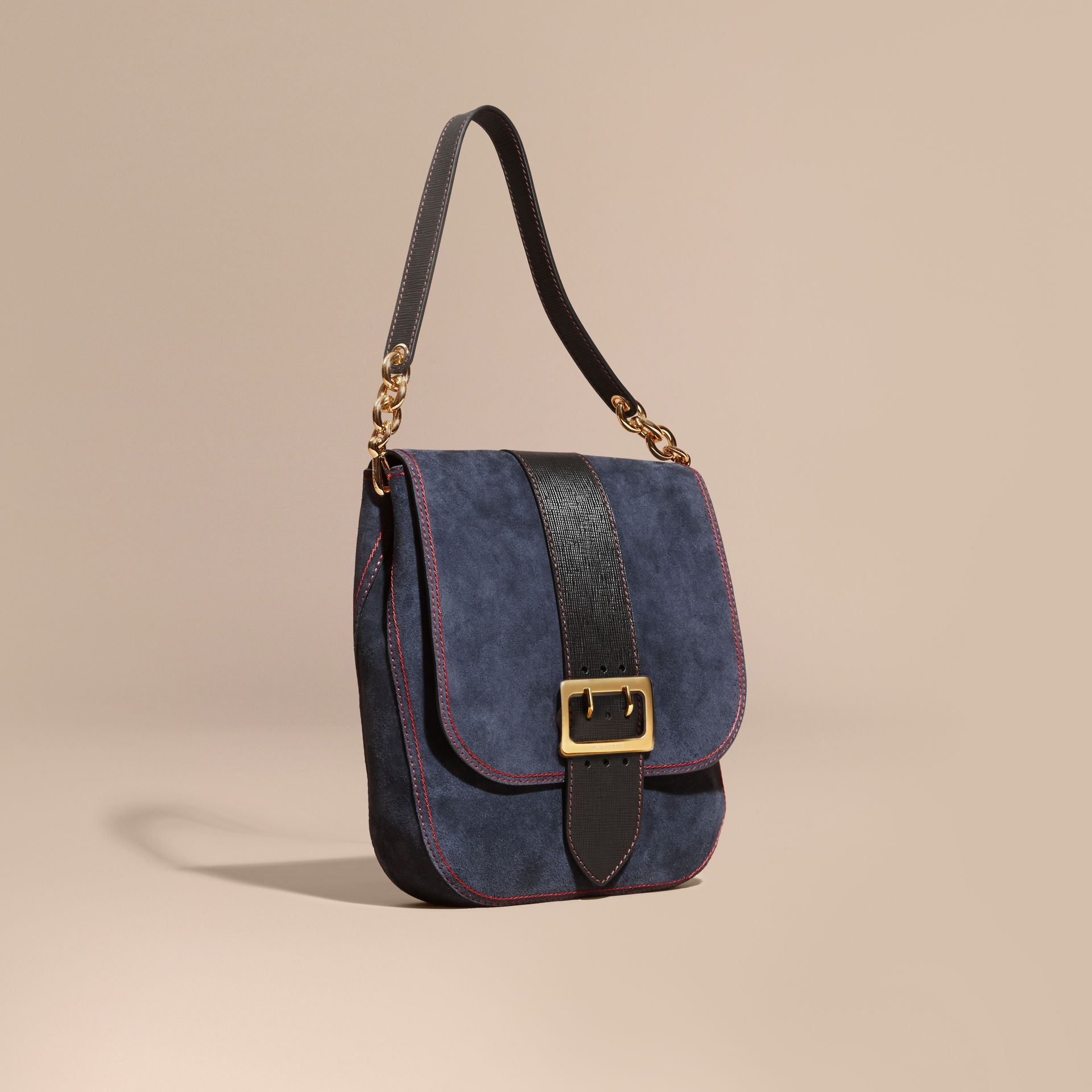 Navy The Buckle Satchel in Suede with Topstitching Navy - gallery image 1