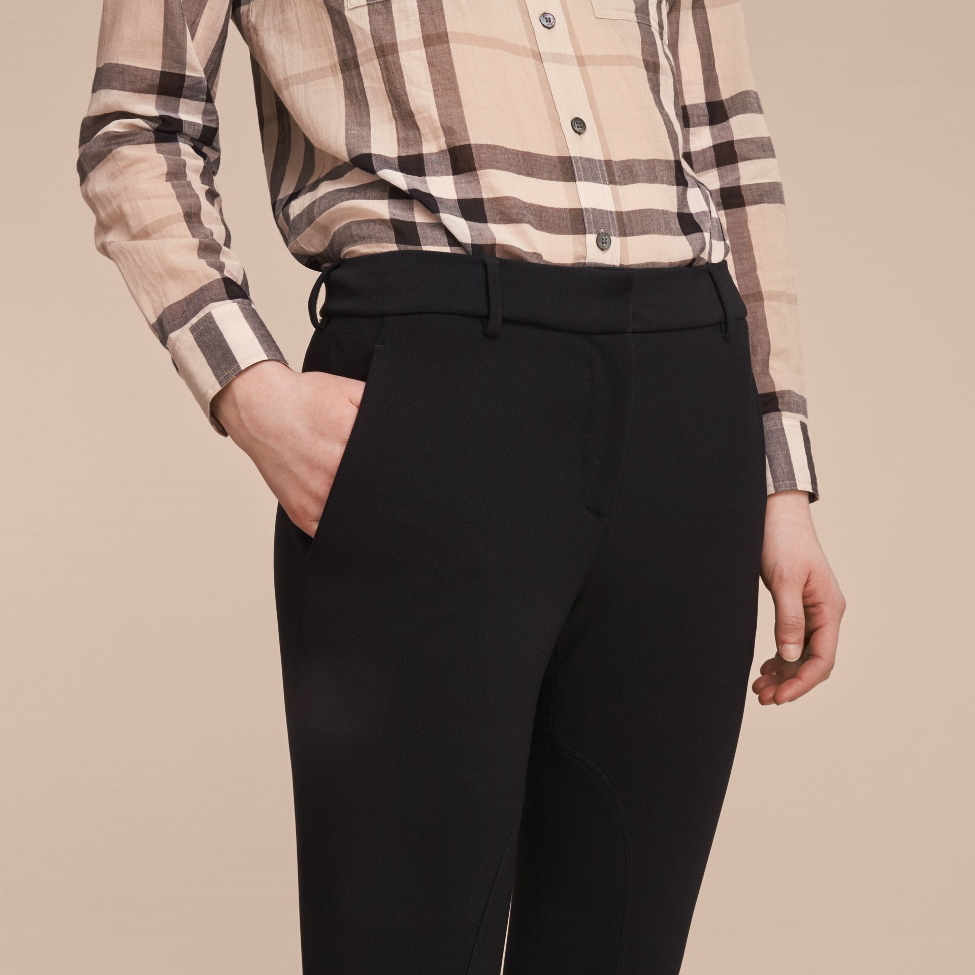 Cropped Slim Fit Trousers in Black - Women | Burberry - gallery image 5