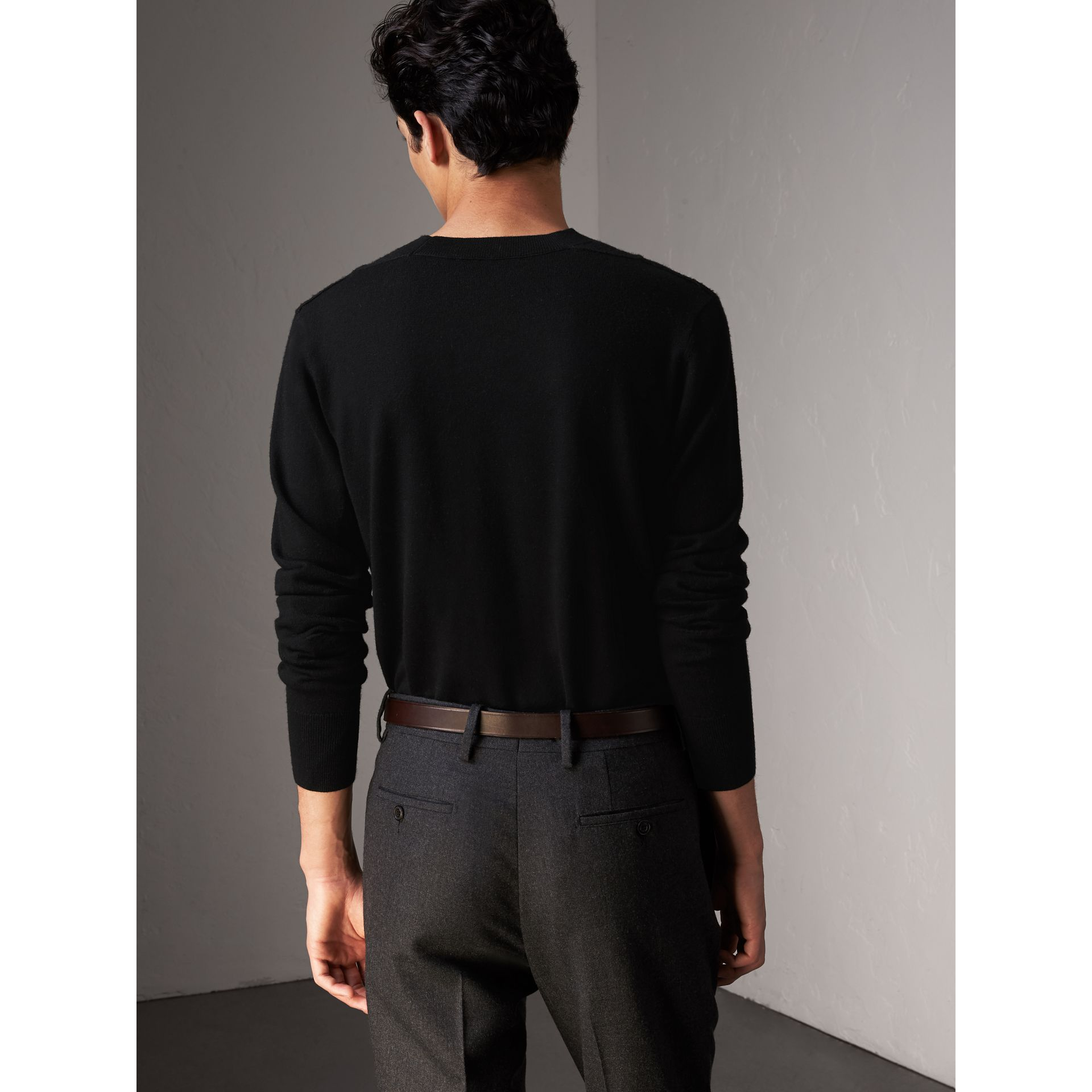 Check Detail Merino Wool Sweater in Black - Men | Burberry - gallery image 2