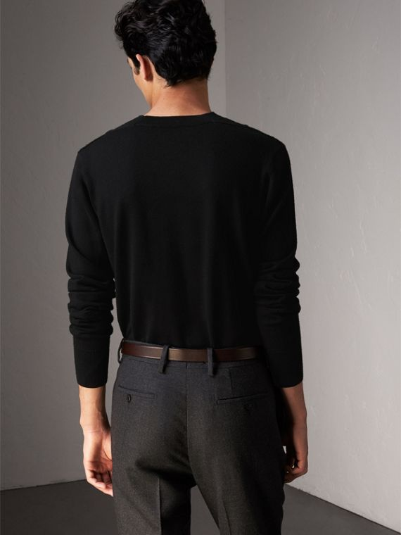 Check Detail Merino Wool Sweater in Black - Men | Burberry Singapore - cell image 2