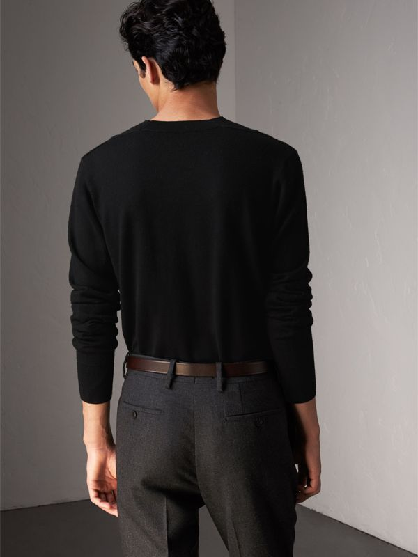 Check Detail Merino Wool Sweater in Black - Men | Burberry - cell image 2
