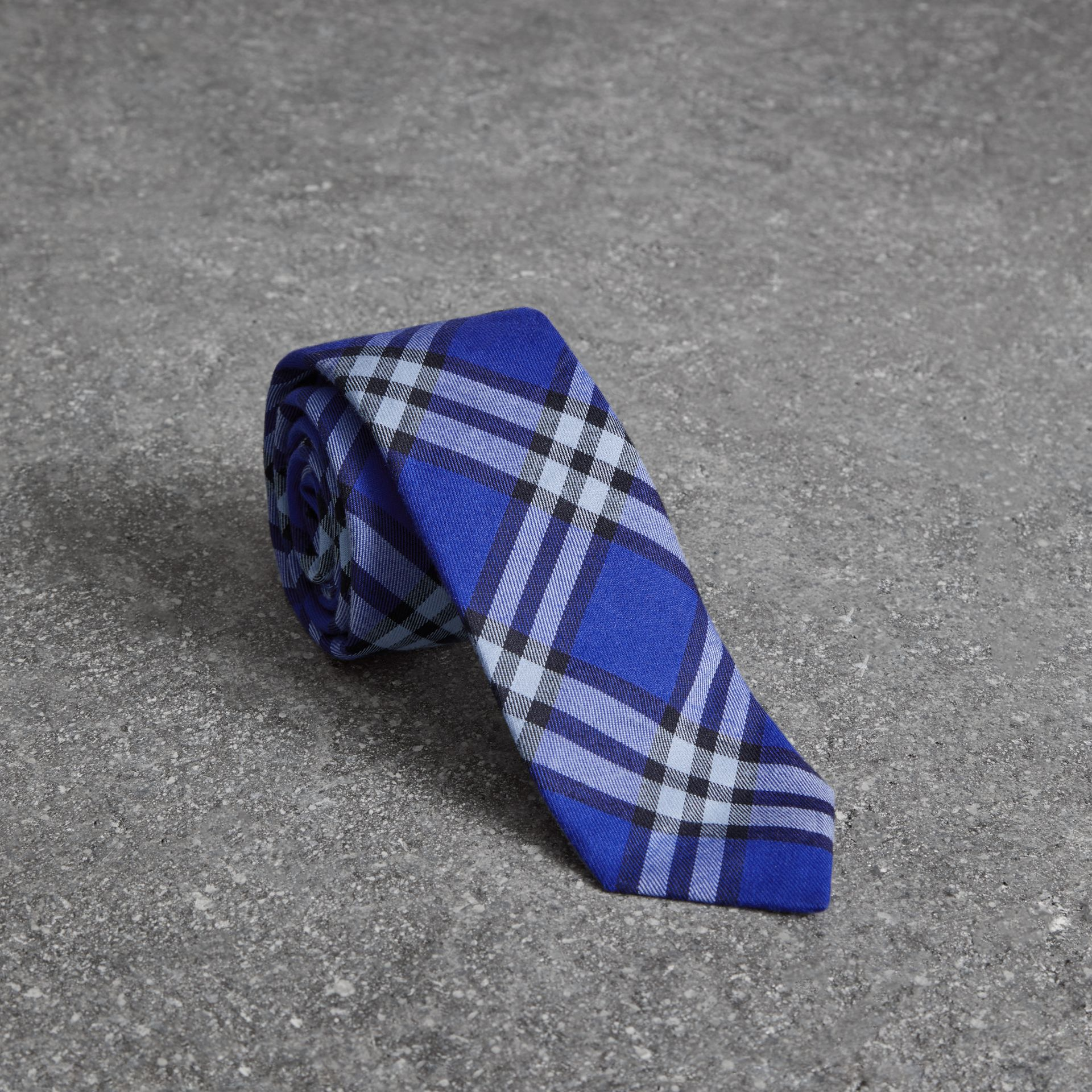 Slim Cut Check Cotton Tie in Light Blue - Men | Burberry - gallery image 0