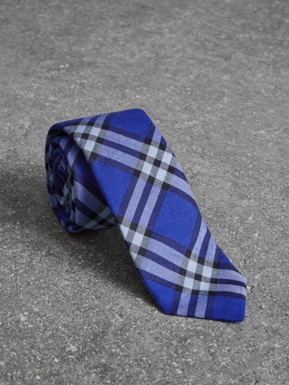 Slim Cut Check Cotton Tie in Light Blue
