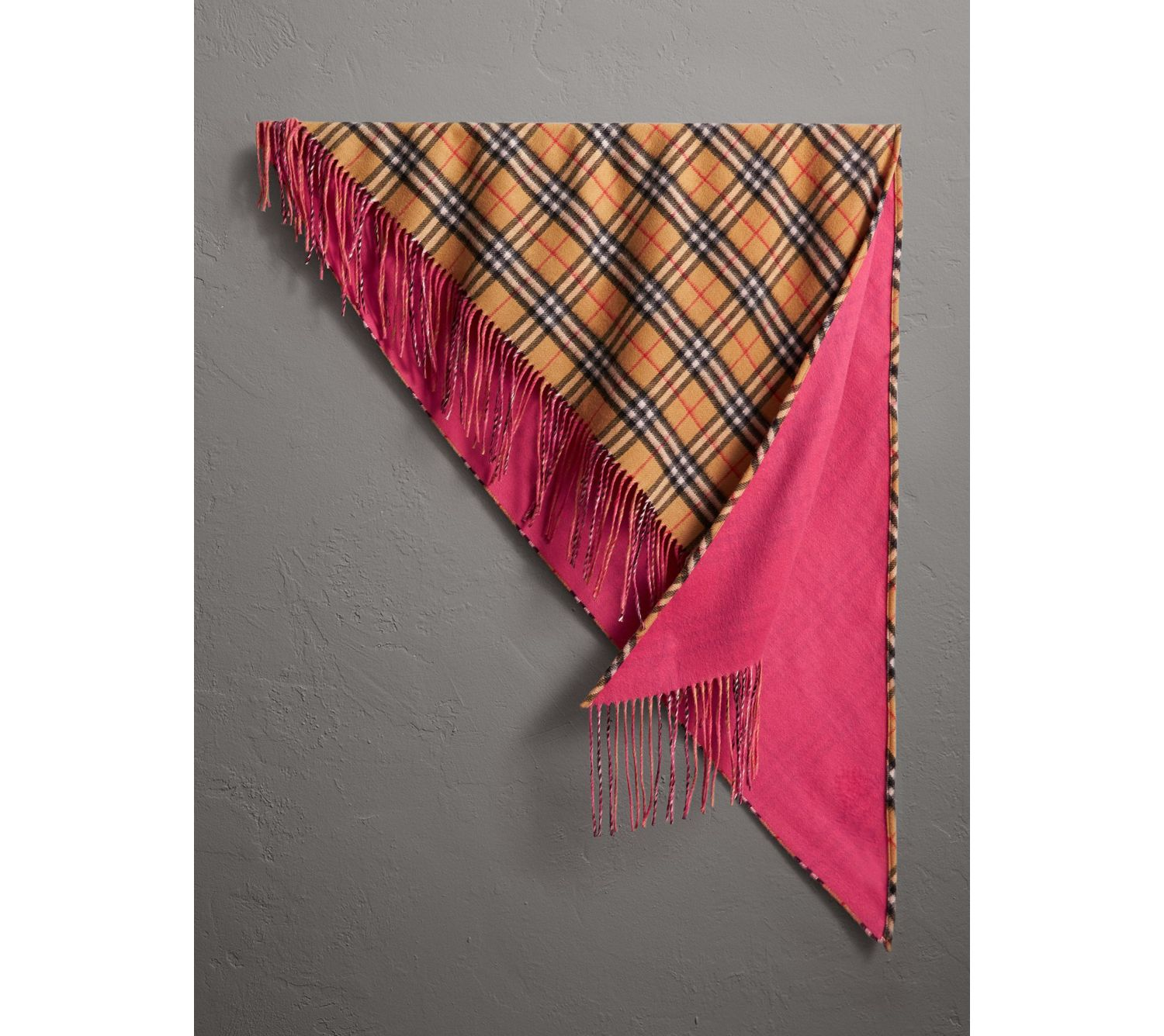 The Burberry Bandana in Vintage Check and Neon Cashmere in Bright Peony