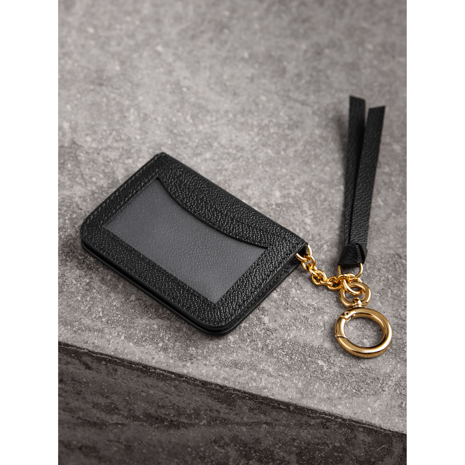 Grainy Leather ID Card Case Charm in Black - Women | Burberry - gallery image 3