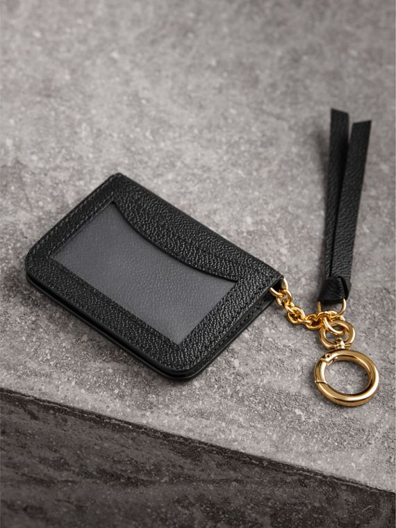 Grainy Leather ID Card Case Charm in Black - Women | Burberry Australia - cell image 2