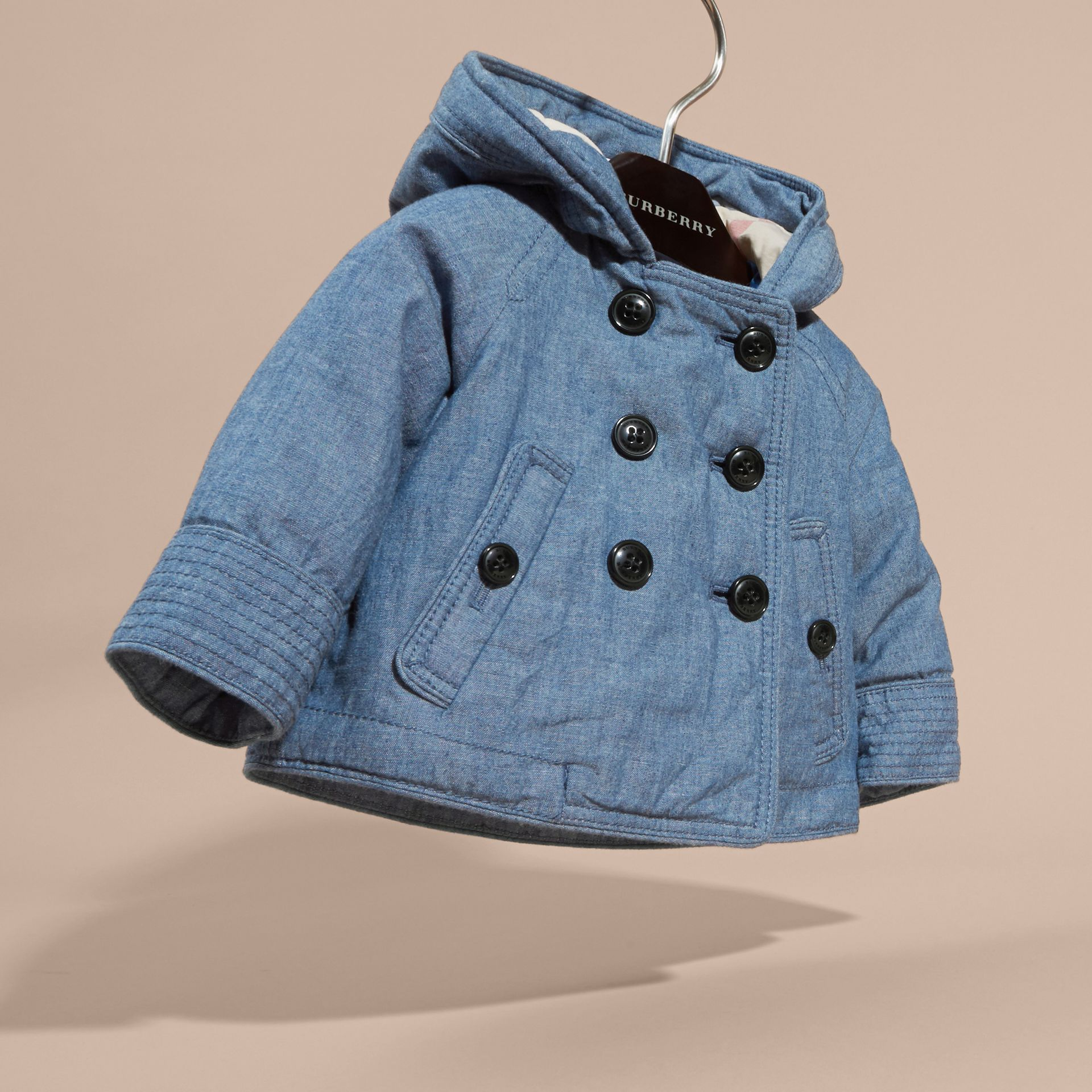 Stone blue Hooded Denim Jacket - gallery image 3