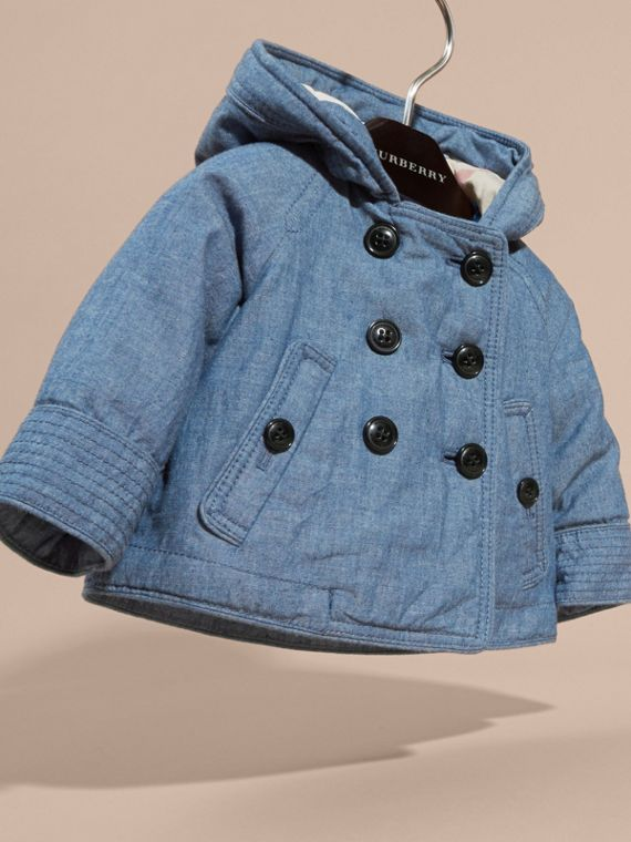 Stone blue Hooded Denim Jacket - cell image 2