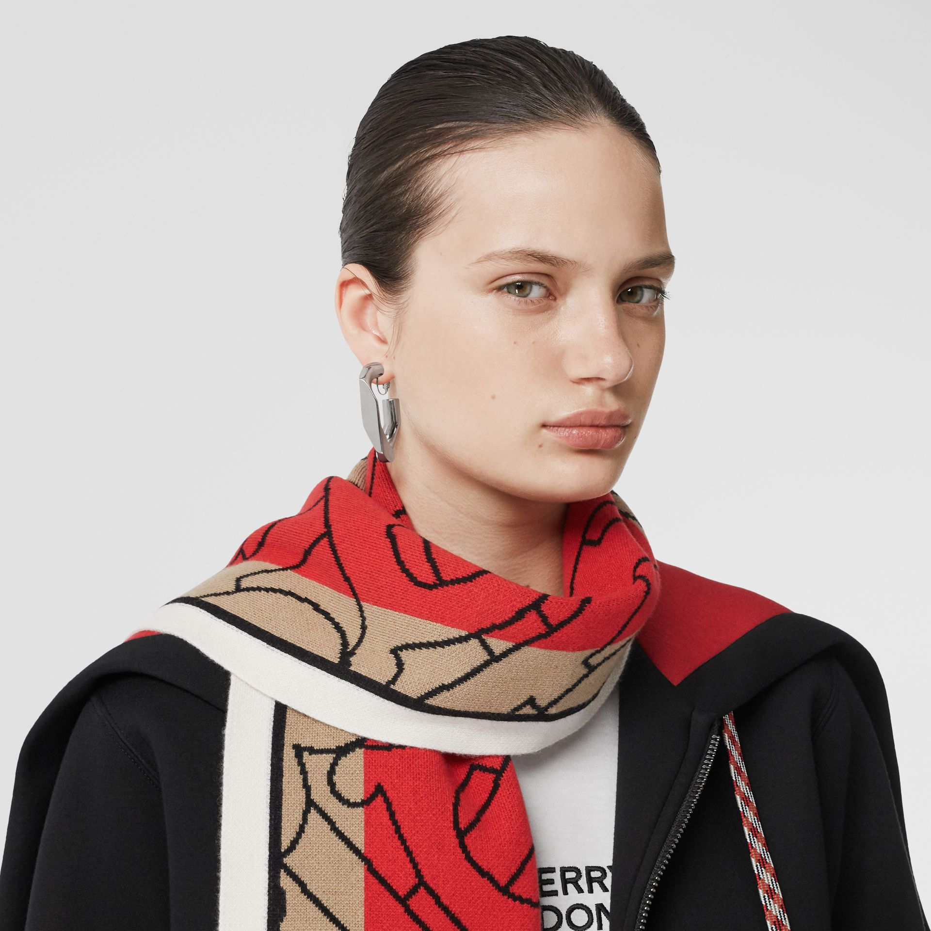 Striped Monogram Cashmere Jacquard Scarf in Archive Beige | Burberry - gallery image 2