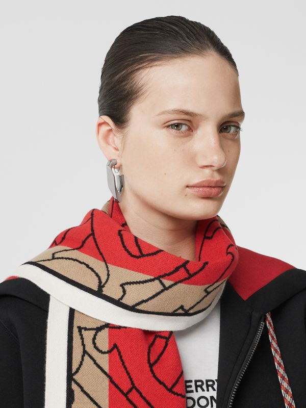Striped Monogram Cashmere Jacquard Scarf in Archive Beige | Burberry - cell image 2