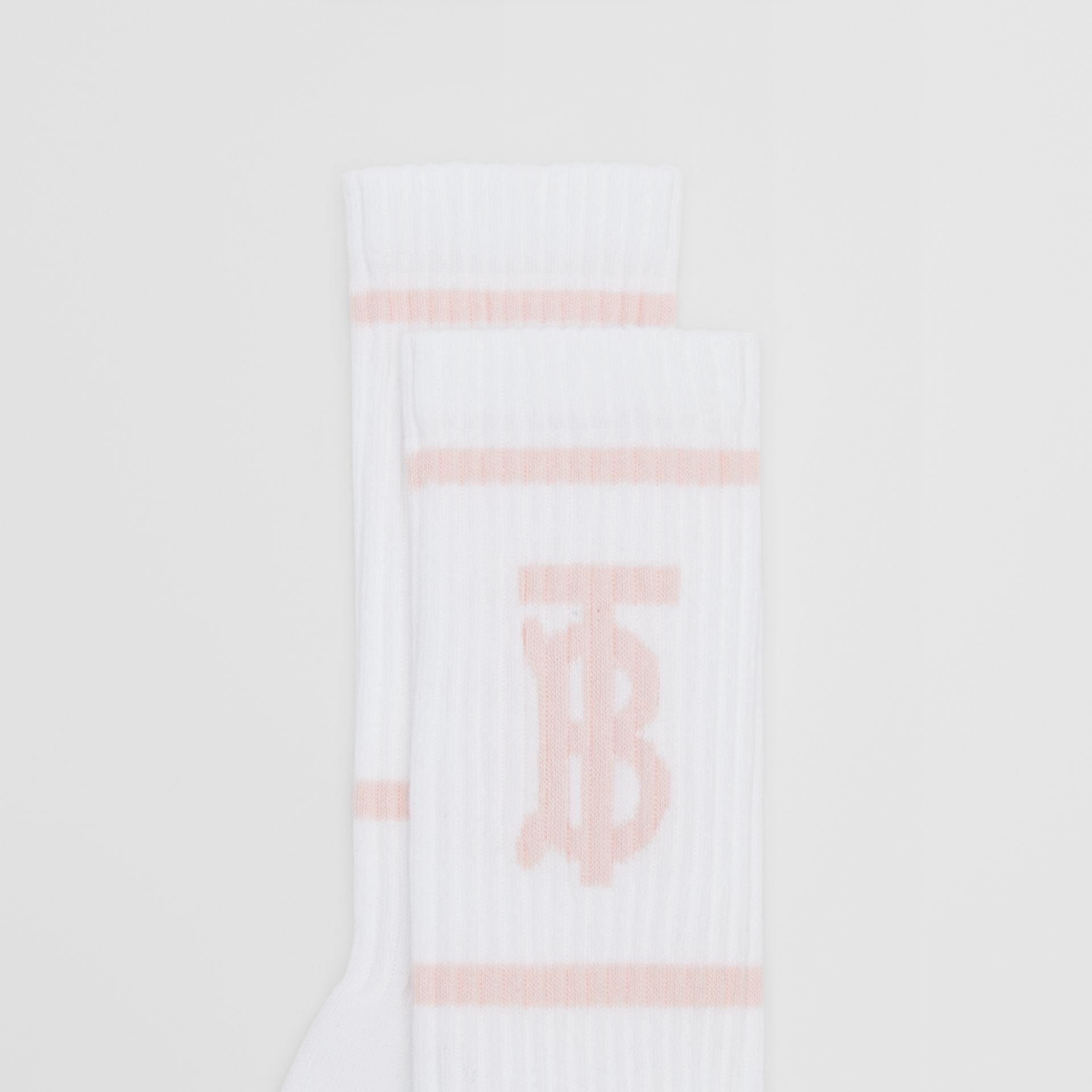 Monogram Motif Intarsia Socks in White/pale Pink | Burberry United Kingdom - gallery image 1