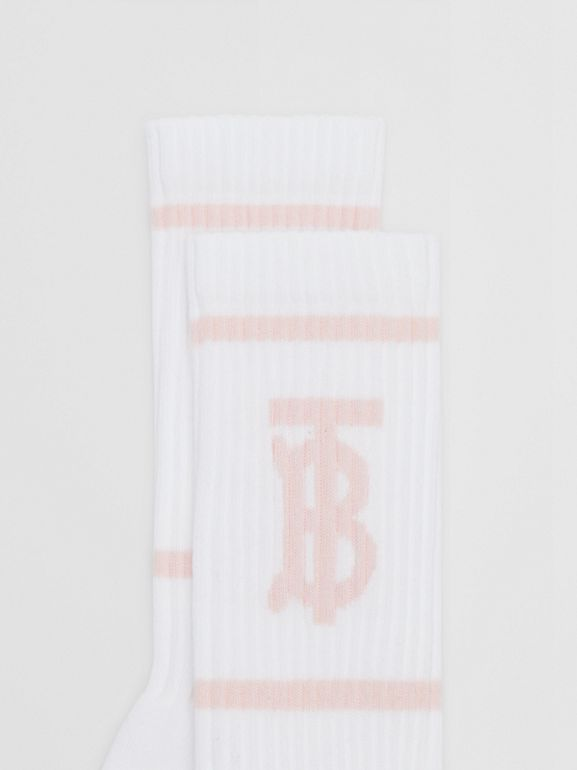 Monogram Motif Intarsia Socks in White/pale Pink | Burberry United Kingdom - cell image 1