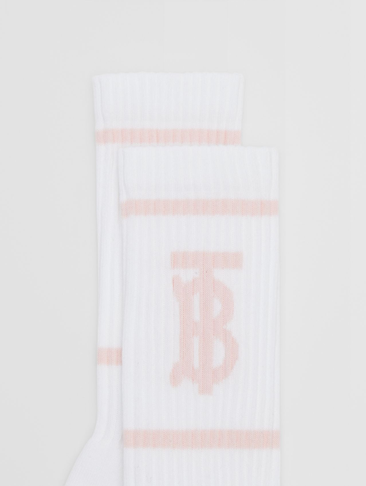 Monogram Motif Intarsia Socks in White/pale Pink