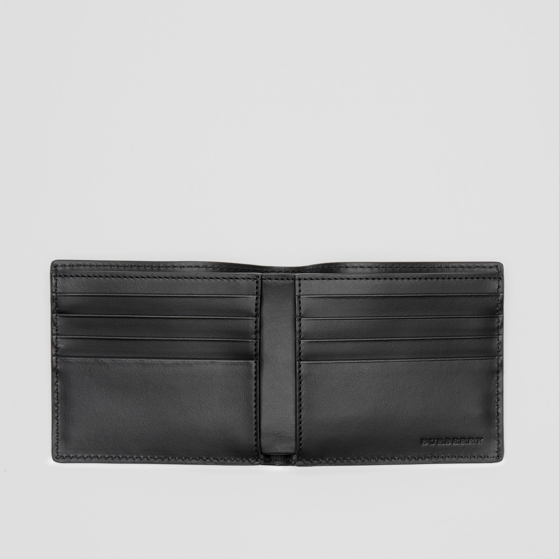 Perforated Logo Leather International Bifold Wallet in Black - Men | Burberry - gallery image 3