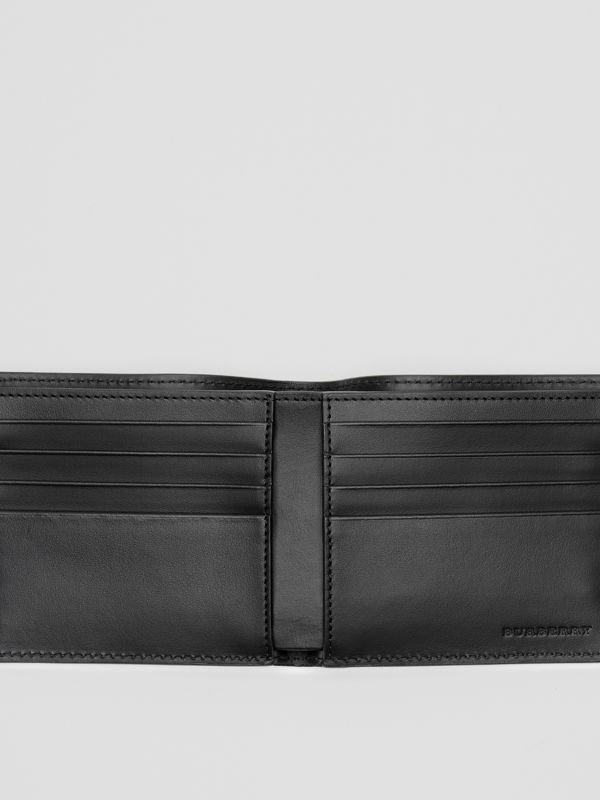 Perforated Logo Leather International Bifold Wallet in Black - Men | Burberry - cell image 3