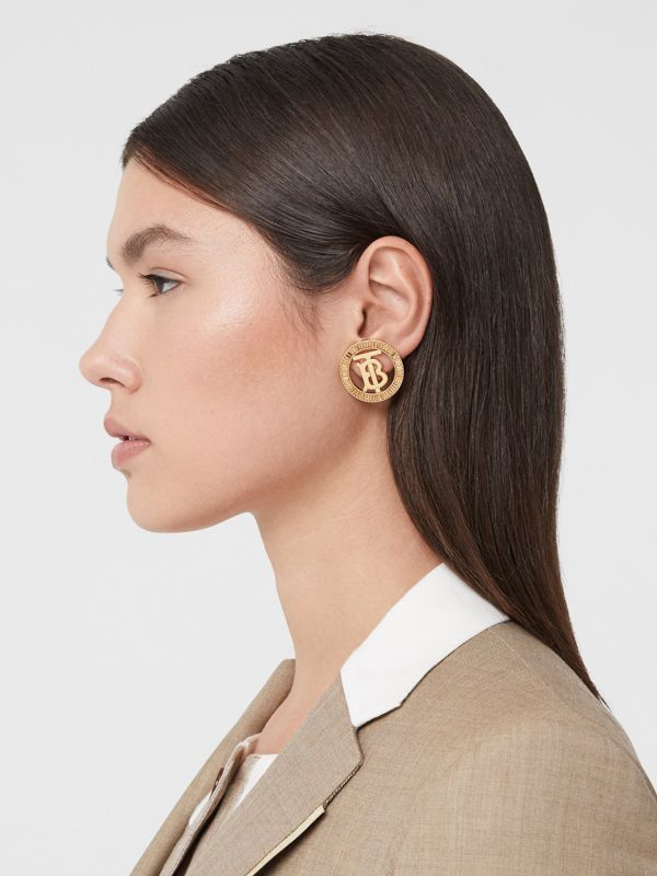 Crystal Detail Gold-plated Monogram Motif Earrings in Light Gold/crystal - Women | Burberry - cell image 2