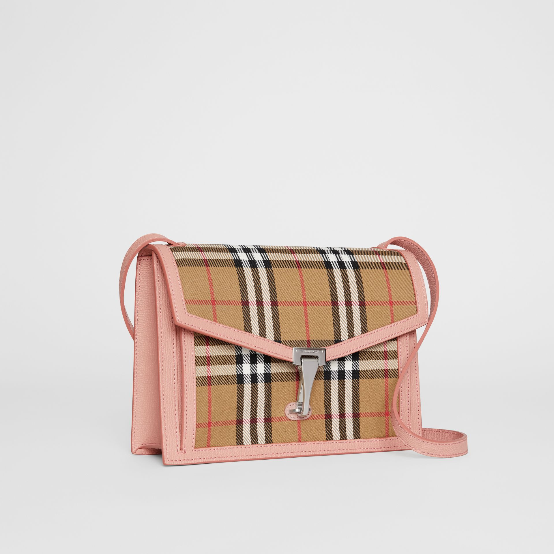 Small Vintage Check and Leather Crossbody Bag in Ash Rose - Women | Burberry - gallery image 6
