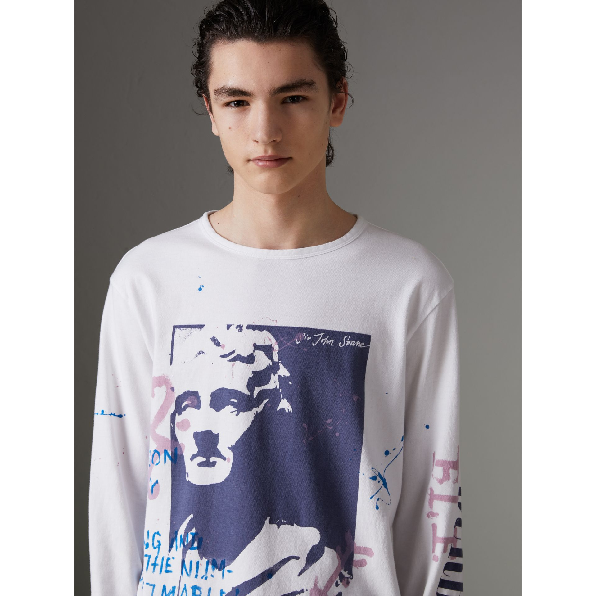 Portrait Print Cotton Top in Optic White - Men | Burberry - gallery image 0