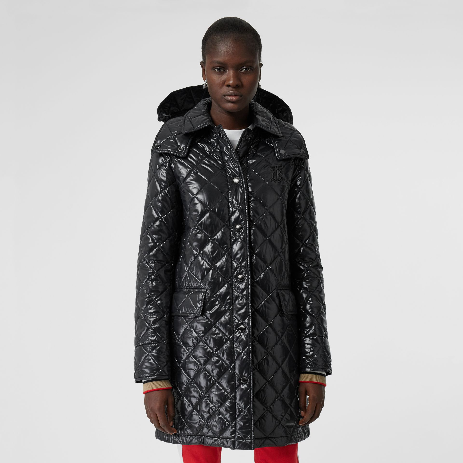 Detachable Hood Monogram Motif Quilted Coat in Black - Women | Burberry - gallery image 5
