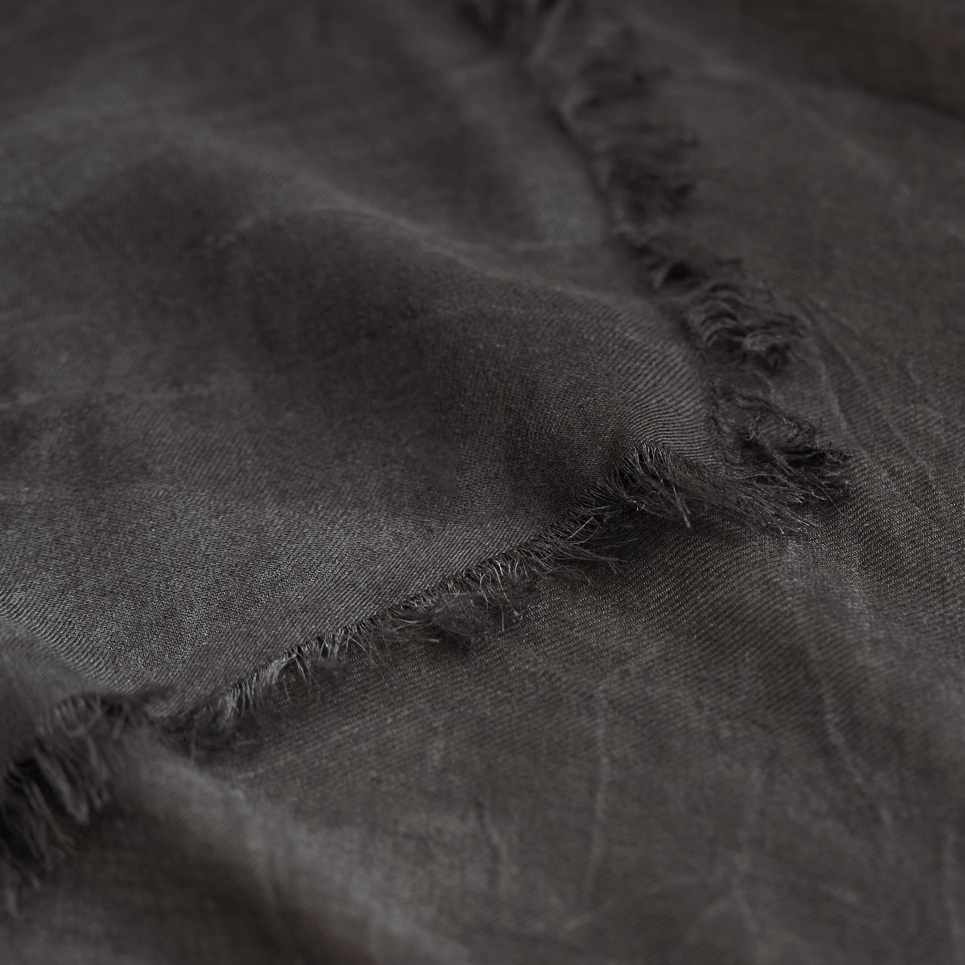 Lightweight Overdyed Modal Wool Scarf in Charcoal | Burberry - gallery image 2