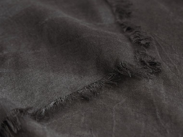 Lightweight Overdyed Modal Wool Scarf in Charcoal | Burberry - cell image 1