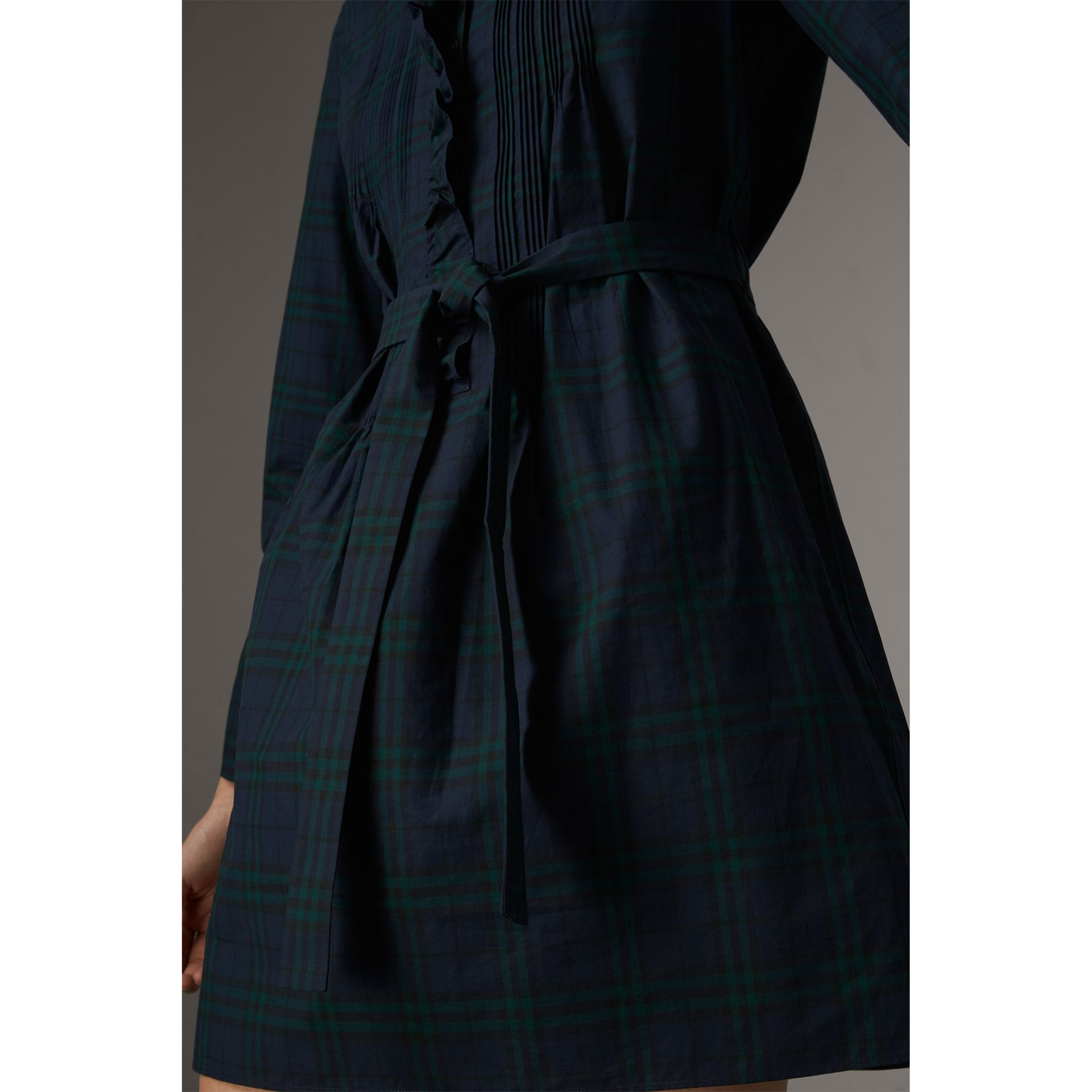 Pintuck Detail Tie-waist Tartan Cotton Tunic Dress in Ink Blue - Women | Burberry Singapore - gallery image 1