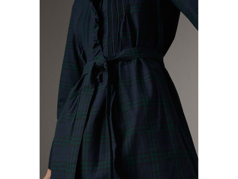 Pintuck Detail Tie-waist Tartan Cotton Tunic Dress in Ink Blue - Women | Burberry Singapore - cell image 1