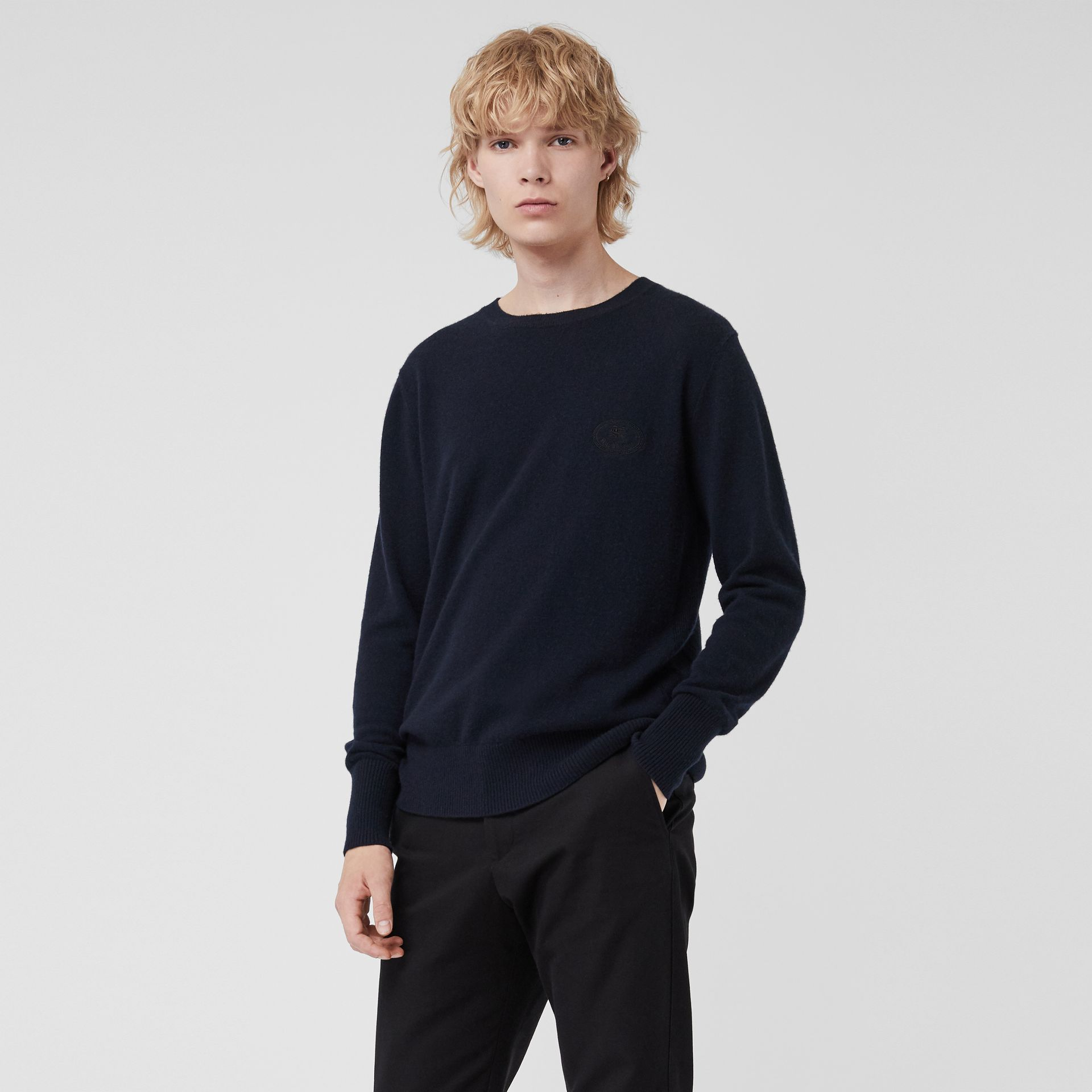 Embroidered Archive Logo Cashmere Sweater in Navy - Men | Burberry United Kingdom - gallery image 0