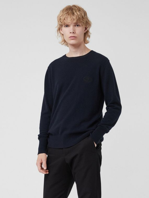 Embroidered Archive Logo Cashmere Sweater in Navy