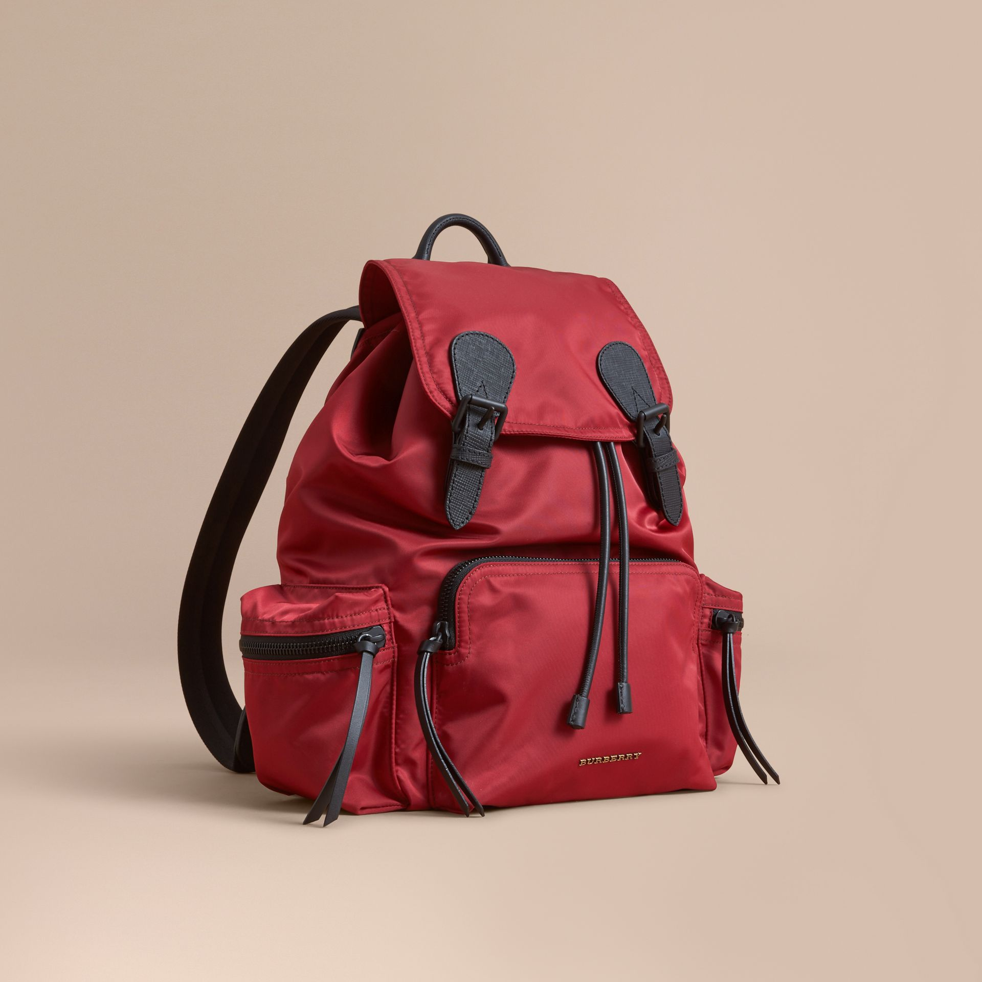 The Large Rucksack in Technical Nylon and Leather in Antique Red - Men | Burberry - gallery image 1