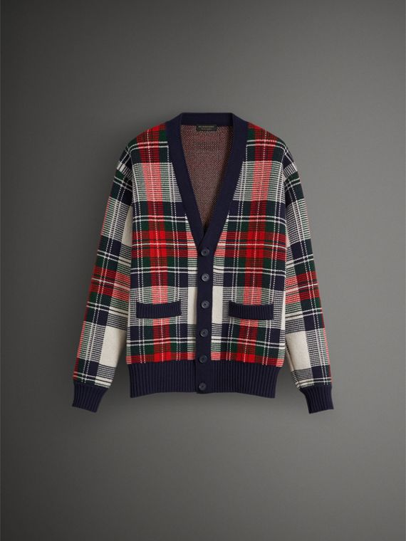 Tartan Knitted Cashmere Wool Cardigan in Natural White/ Navy - Men | Burberry Australia - cell image 3