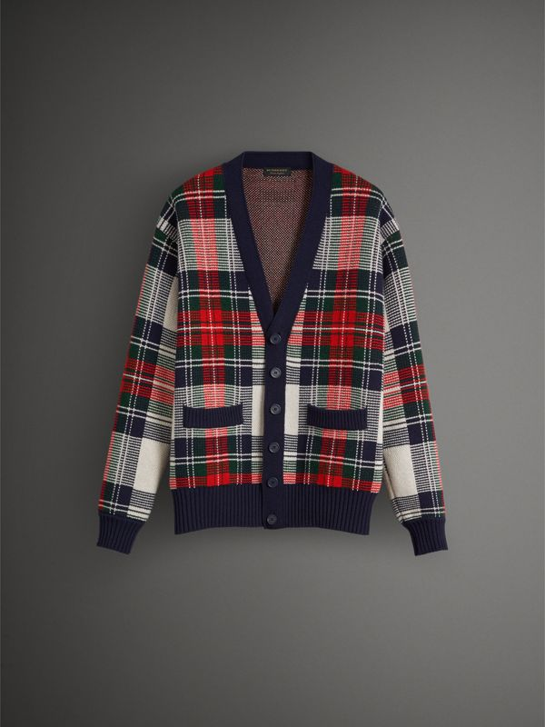 Tartan Knitted Cashmere Wool Cardigan in Natural White/ Navy - Men | Burberry - cell image 3