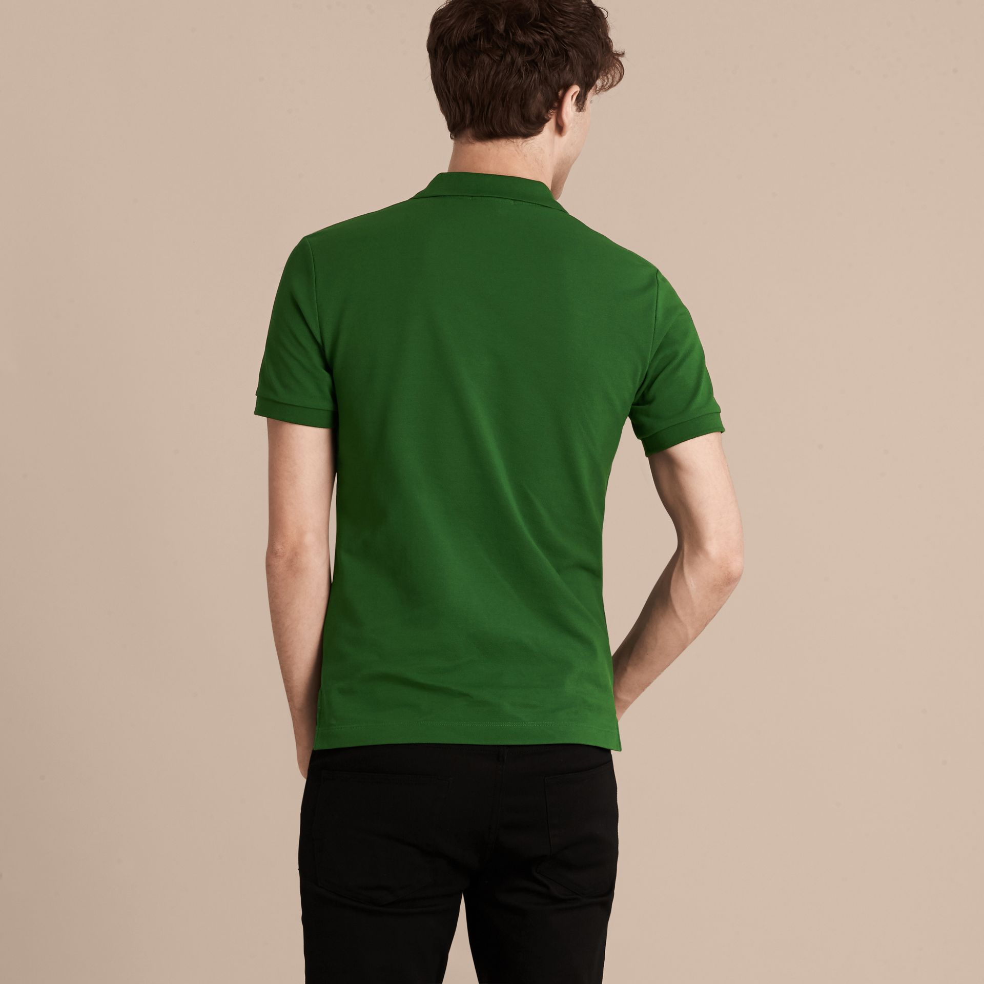 Check Placket Cotton Piqué Polo Shirt in Bright Fern Green - Men | Burberry - gallery image 3