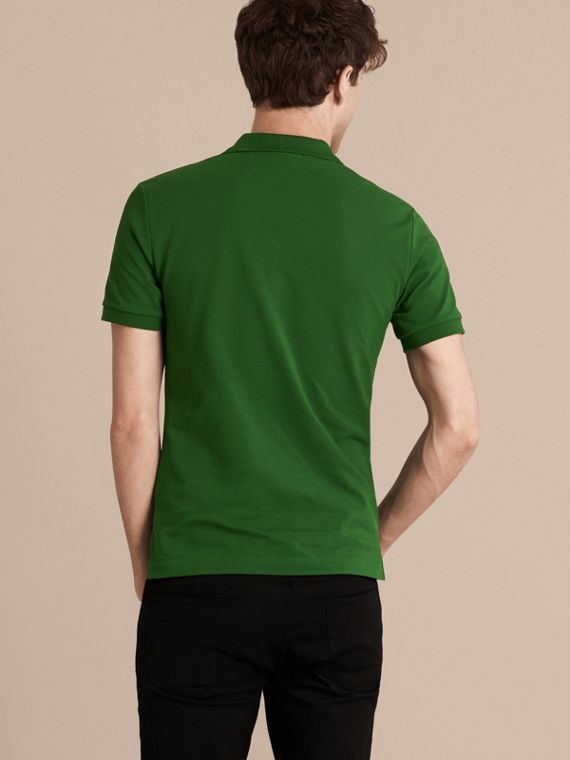 Check Placket Cotton Piqué Polo Shirt in Bright Fern Green - Men | Burberry - cell image 2